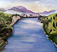 The Jordan River (Artist Interpretation for Baptismal Mural) by Karen L Ramsey