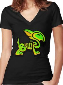 Bullies Letter Character Green and Yellow Women's Fitted V-Neck T-Shirt