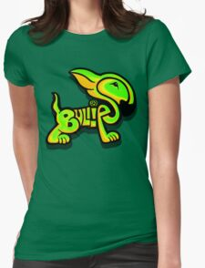 Bullies Letter Character Green and Yellow Womens Fitted T-Shirt