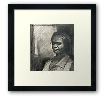 Kuntamare : charcoal portrait drawing Framed Print