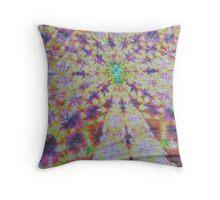Vivid kaleidoscopic mandala Throw Pillow