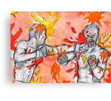 Red Painted Fight Canvas Print