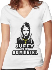 Buffy Is My Home Girl Women's Fitted V-Neck T-Shirt