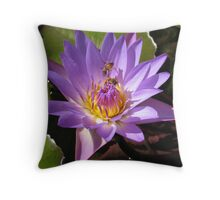 Lily and two Bees working together Throw Pillow