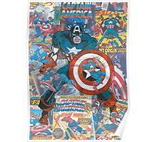 Vintage Comic Captain America Poster