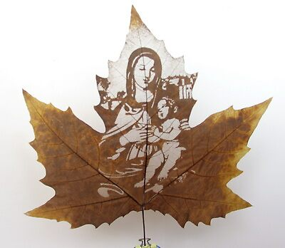 leaf art--leaf carving--carving on natural leaf by Victor Liu