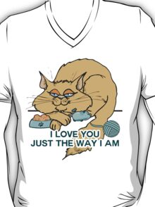 I Love You Funny Cat Graphic Saying T-Shirt