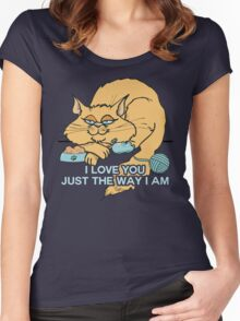 I Love You Funny Cat Graphic Saying Women's Fitted Scoop T-Shirt