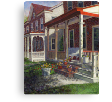 Porch with Pots of Pansies Canvas Print