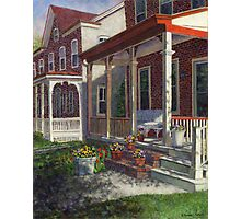 Porch with Pots of Pansies Photographic Print