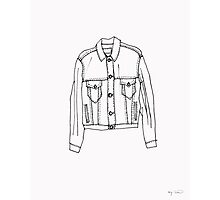 Oversized Denim Jacket Illustration Photographic Print