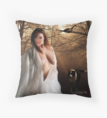 woodland nymph l (first upload) Throw Pillow