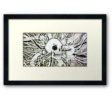 Biomechanical skull and wires Framed Print