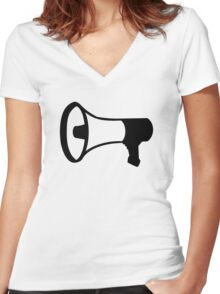 Megaphone Women's Fitted V-Neck T-Shirt
