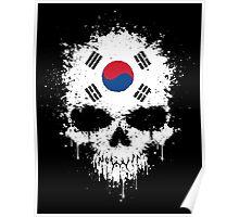 Chaotic South Korean Flag Splatter Skull Poster