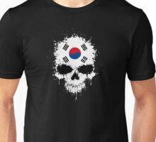 Chaotic South Korean Flag Splatter Skull Unisex T-Shirt
