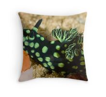 Green-Spotted Nudibranch Throw Pillow