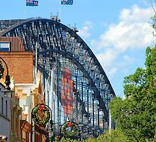 Merry Christmas - The Rocks V Harbour Bridge, Sydney by Bev Woodman