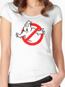 Pixelated Ghostbusters Logo Women's Fitted Scoop T-Shirt