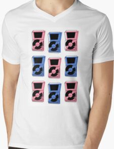 Vintage ROCK and ROLL Record Pattern Mens V-Neck T-Shirt