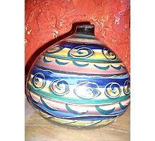 Pottery Jug- in Blue Photographic Print