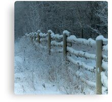 Country Fence Winter Style Canvas Print