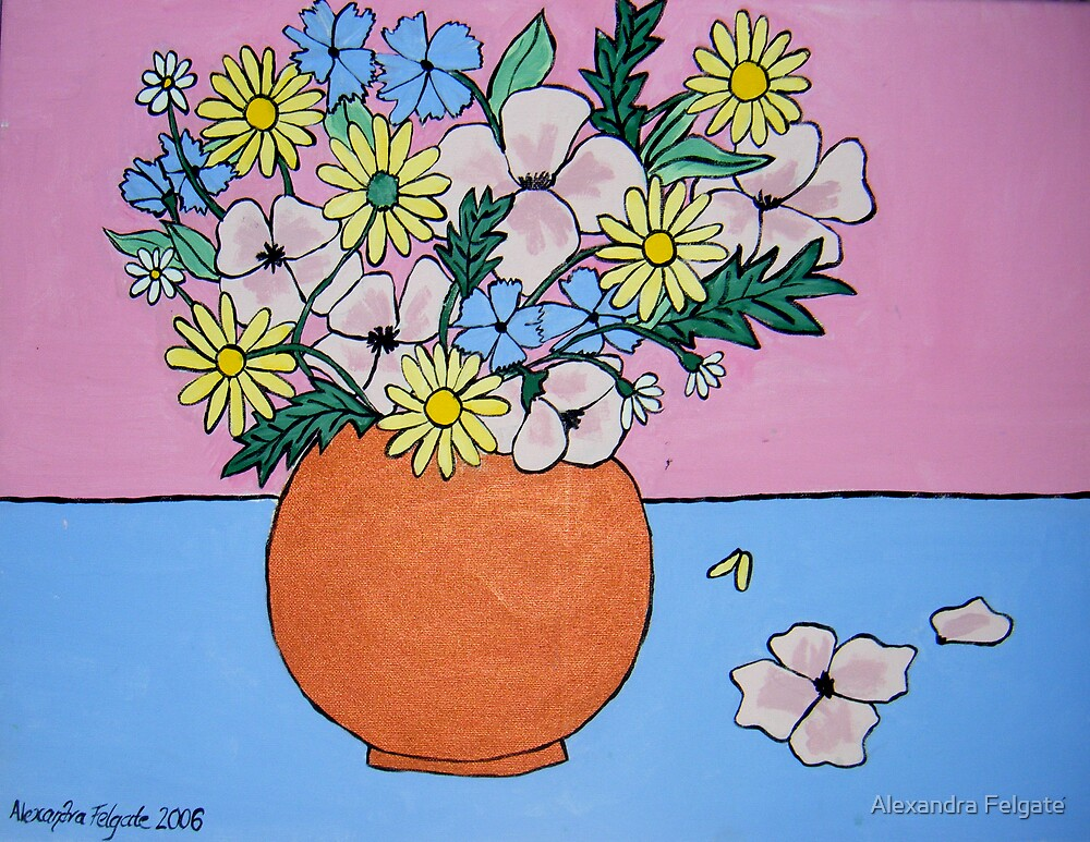 Still Life with Anemones, Daisies and Cornflowers by Alexandra Felgate