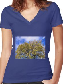 Blue Sky and Autumn Leaves Women's Fitted V-Neck T-Shirt