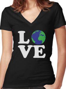 I Love World Women's Fitted V-Neck T-Shirt