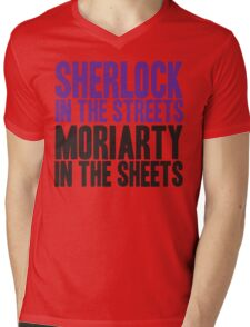 SHERLOCK IN THE STREETS MORIARTY IN THE SHEETS Mens V-Neck T-Shirt