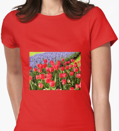 Dutch Splendour - Red Tulips and Blue Muscari Womens Fitted T-Shirt