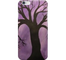 Nocturnal Silhouetted Tree Lavender Purple Sky   iPhone Case/Skin