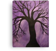 Nocturnal Silhouetted Tree Lavender Purple Sky   Canvas Print
