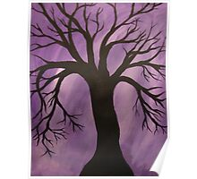Nocturnal Silhouetted Tree Lavender Purple Sky   Poster