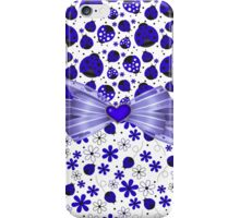 Fancy Blue Ladybugs and Flowers iPhone Case/Skin