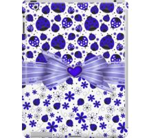 Fancy Blue Ladybugs and Flowers iPad Case/Skin