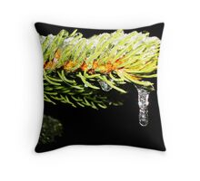 Pine Covered in Ice Throw Pillow