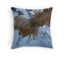 Ice Covered Flowers Throw Pillow
