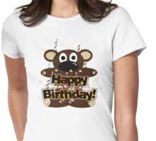 Happy Birthday Bear Tee Womens Fitted T-Shirt