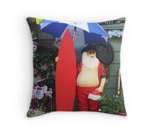 Santa with Surfboard Ready for Rainstorm  Throw Pillow
