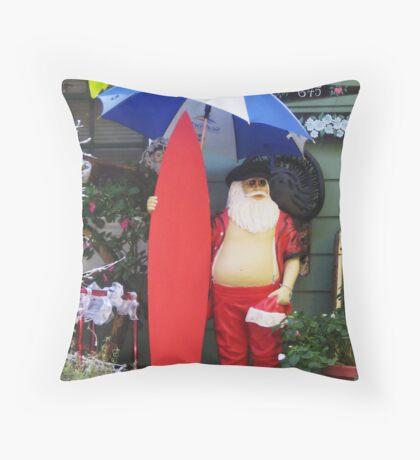 Santa with Surfboard Ready for Rainstorm  Throw Pillow