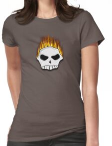 Flaming Skull Tee Womens Fitted T-Shirt
