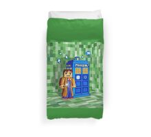 8bit blue phone box with space and time traveller Duvet Cover