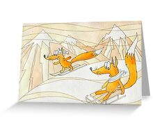 young foxes in the Alps. Greeting Card