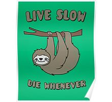 Funny & Cute Sloth 'Live Slow Die Whenever' Cool Statement / Lazy Motto / Slogan Poster