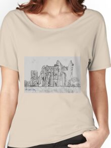 Pencil Sketch of Old Wardour Castle, England Women's Relaxed Fit T-Shirt