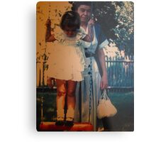 Susan At 3 With Nina...The Red Swing Metal Print