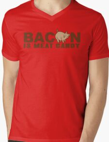 BACON IS MEAT CANDY Funny Geek Nerd Mens V-Neck T-Shirt