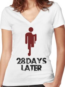 28 days later Funny Geek Nerd Women's Fitted V-Neck T-Shirt