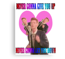 Never gonna give you up, never gonna let you down.  Canvas Print